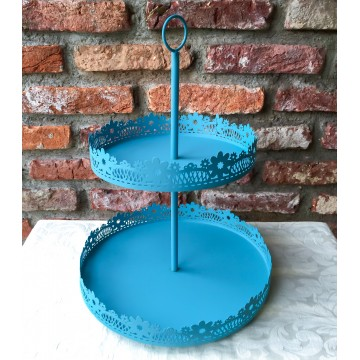 2 Tier Blue Cupcake Stand