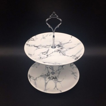2 Tier Marble Cupcake Stand
