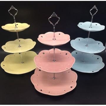 3 Tier Pastel Ceramic Cupcake Stand