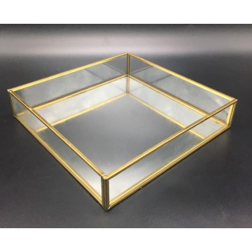 Gold Mirror Glass Dish (Square)