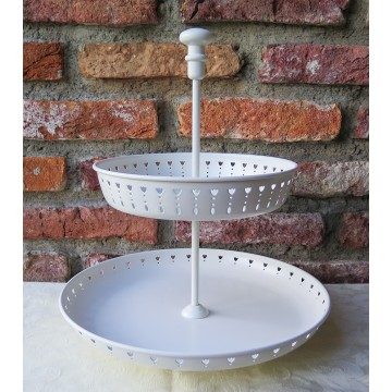 2 Tier White Cupcake Stand