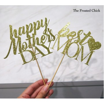 Mother's Day Glitter Cardstock Cake Topper