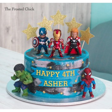 Galaxy cake with Avengers Superhero Toy
