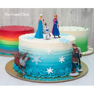Ombre cake with Frozen toy toppers (set of 6)