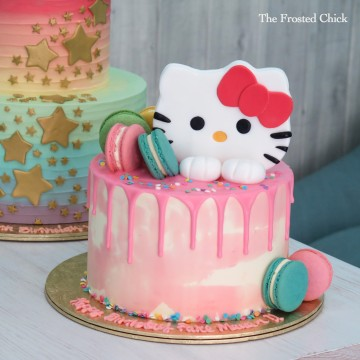 Hello Kitty Water Colour Macaron Drip Cake