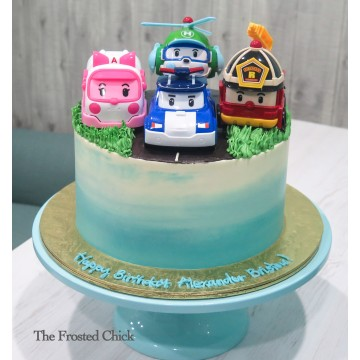 Ombre Road Cake with Robo Car poli toy set