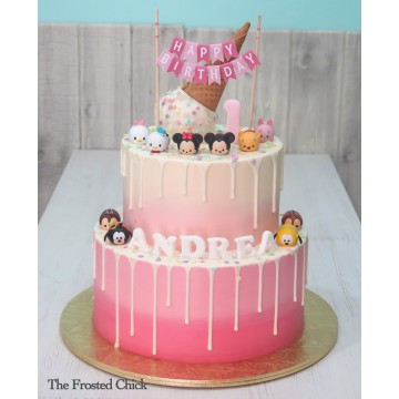 Ice Cream Cone Cake with Toy Tsum Tsum set