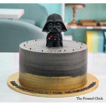 Brushed Gold Cake with Darth Vader toy topper