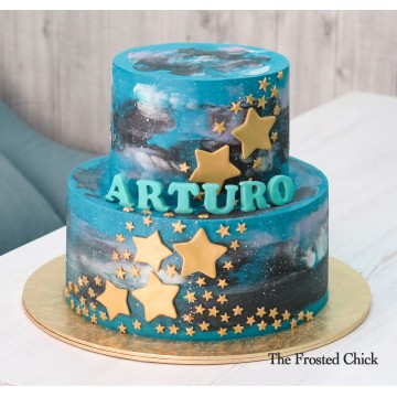 Galaxy Cake with Gold Stars