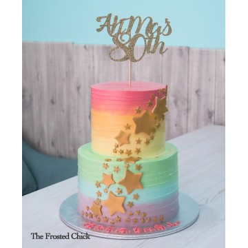 Pastel Rainbow Swirl with Gold Stars