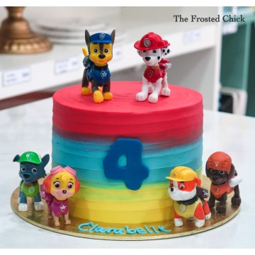 Swirl Cake with Paw Patrol toppers