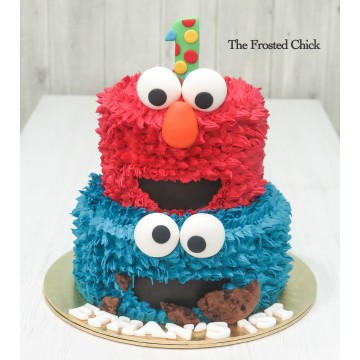Elmo and Cookie Monster 2 tier Cake