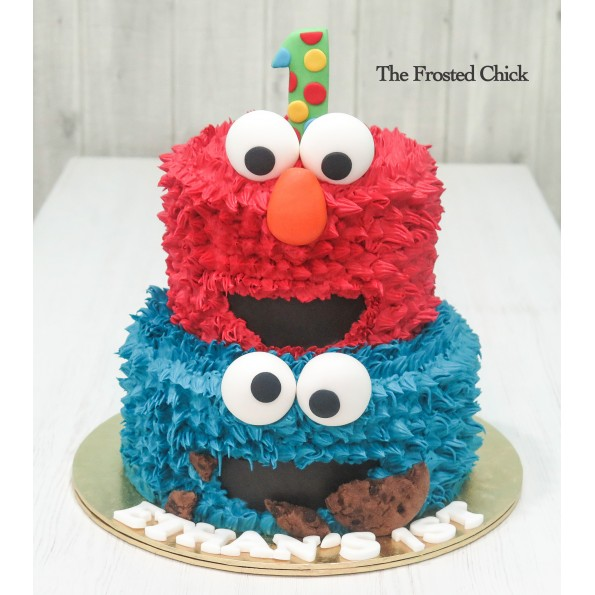 Elmo And Cookie Monster 2 Tier Cake Cakes